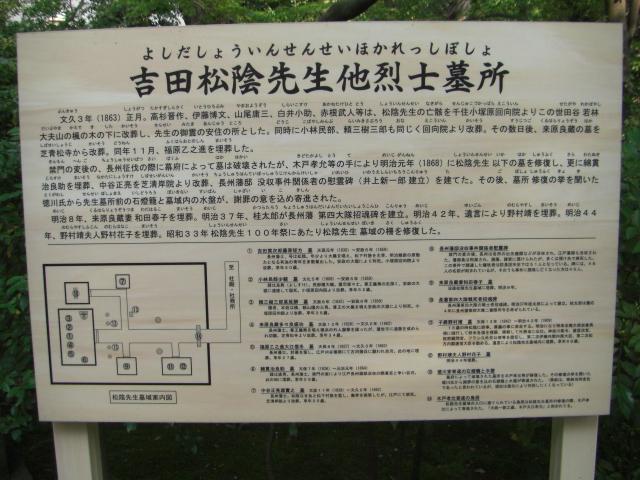 世田谷松陰神社お墓案内板